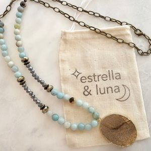 NWT Amazonite & Natural Stone Agate Necklace